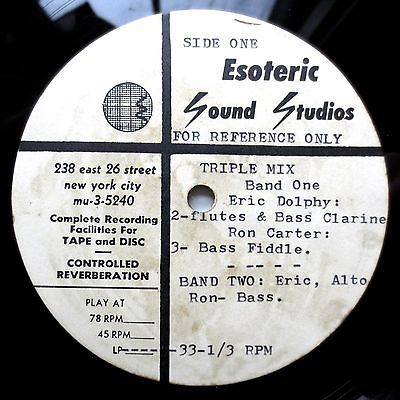 ERIC DOLPHY triple mix   1960 ACETATE LP 5 song NYC w  RON CARTER rare HEAR IT