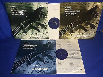 COLUMBIA 33CX  B G  JANOS STARKER  J S BACH  6 SUITES FOR SOLO CELLO  3 LP  NM