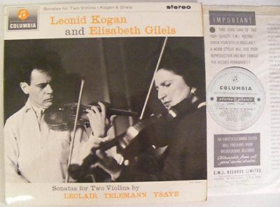 KOGAN   GILELS Sonatas For 2 Violins Columbia Ex  1964 Blue Silver Stereo LP