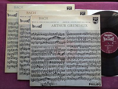 PHILIPS Hifi StereO 3 LP BACH  Sonatas and Partitas for solo violin GRUMIAUX  NM