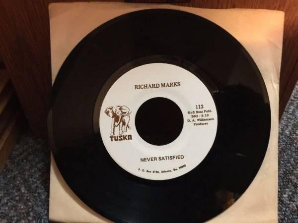Richard Marks Never Satisfied TUSKA 112 DJ 7  Funk Psych Deep Northern Soul 45