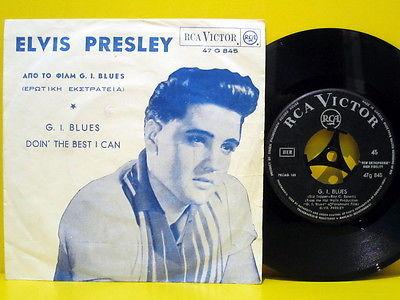 ELVIS PRESLEY G I  Blues TOP RARE 1960 UNIQUE GREEK ORIG  OST 7  Single  P S RCA