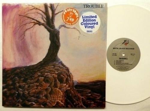TROUBLE Trouble LP MINT  White vinyl METAL BLADE 1984 w Insert Heavy METAL Rp208