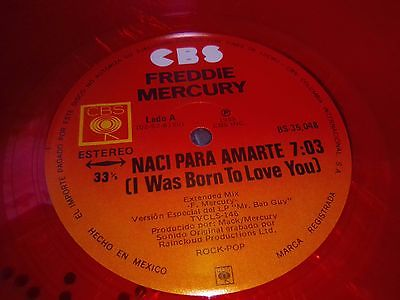FREDDIE MERCURY I WAS BORN TO LOVE YOU QUEEN MEXICAN RED VINYL 12 NM COND RARE