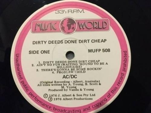 AC DC Rare dirty deeds done dirt cheap New Zealand only Music World LP