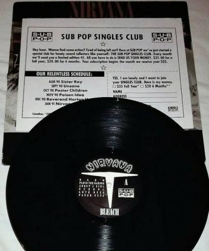 NIRVANA Bleach USA 1989 original Ltd 2000 copies 11 trk LP black wax ps
