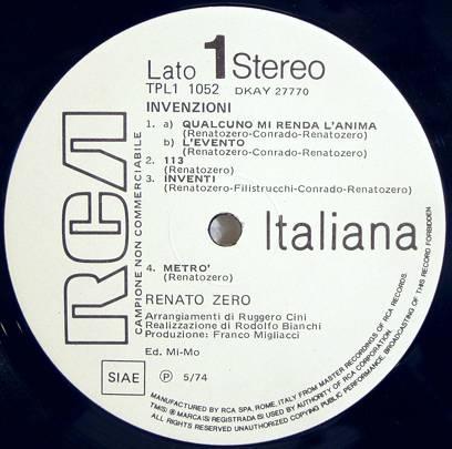 RENATO ZERO INVENZIONI PRIMA STAMPA 5 74 PROMO M  LP