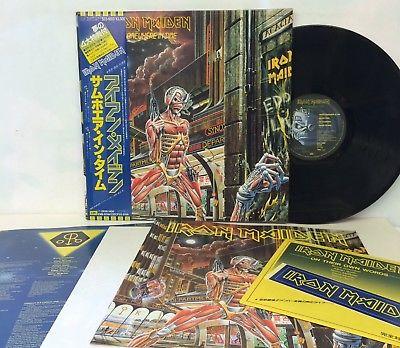 IRON MAIDEN  SOMEWHERE IN TIME  1 LP   7 inch  JAPAN  DJ COPY  OBI  POSTER