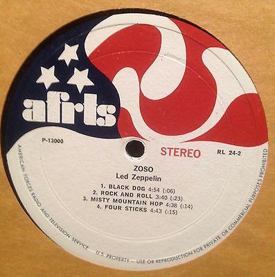 Led Zeppelin   Frank Zappa AFRTS LP Record Album Vinyl MEGA MONSTER RARE  Rock