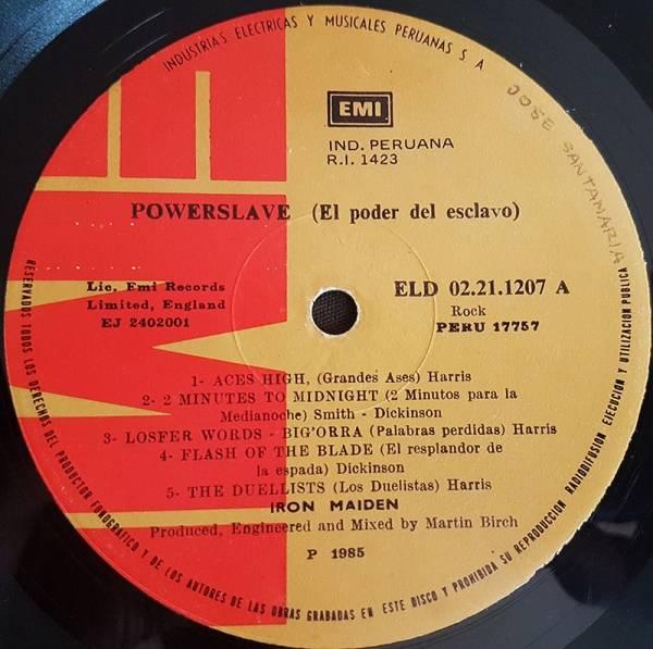 IRON MAIDEN Powerslave LP South America MEGA RARE LABEL PEERUVIAN Pink Cover