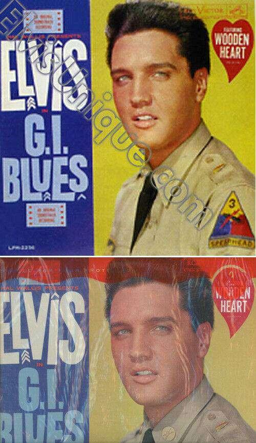 Elvis Presley Rare G I  Blues Mono Heart Sticker LP
