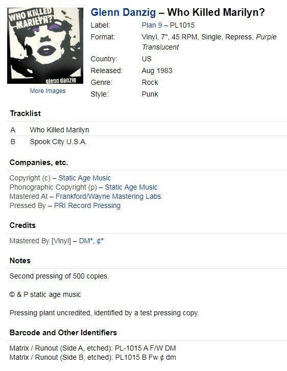 Glenn Danzig   Who Killed Marilyn 1983 7  Single Purple Vinyl 1 of 500 Rare