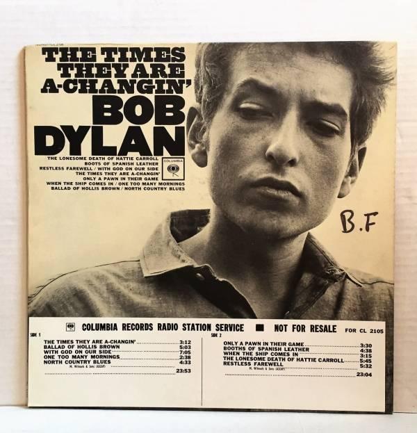 BOB DYLAN white lbl promo LP COLUMBIA 2eye Times They Are AChangin mono WOW