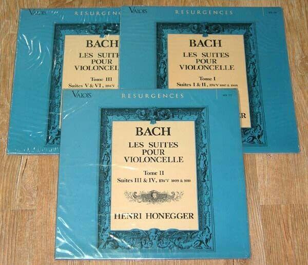 Bach   6 Cello Suites  Henri Honegger  Valois MB 326 328  3 LP Set  1972 Stereo