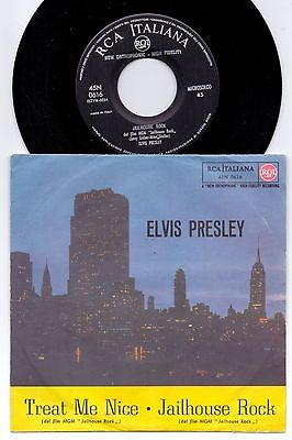 ELVIS PRESLEY  TREAT ME NICE  JAILHOUSE ROCK   RARE PS  7 ITALY 1957