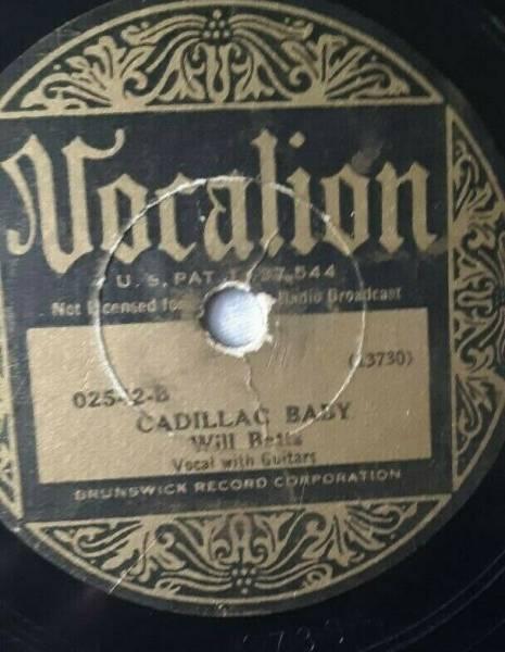 VOCALION  137304 WILL BATTS   PRE WAR G  78 LP 1933 GUITAR BLUES