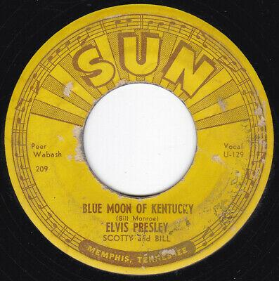 TN Sun Rockabilly ELVIS PRESLEY Blue Moon of Kentucky 45 Sun HEAR