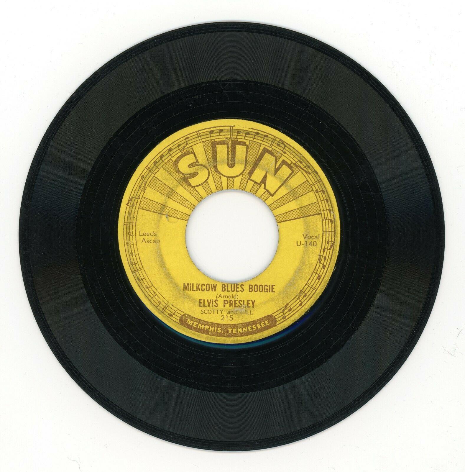 ELVIS PRESLEY   ORIGINAL SUN 45 rpm Record   Sun 215    MILKCOW BLUES BOOGIE