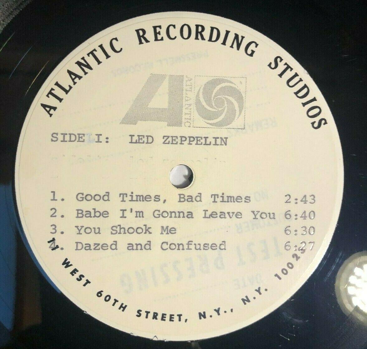 Led Zeppelin Led Zeppelin 1968 Test Pressing Vinyl LP