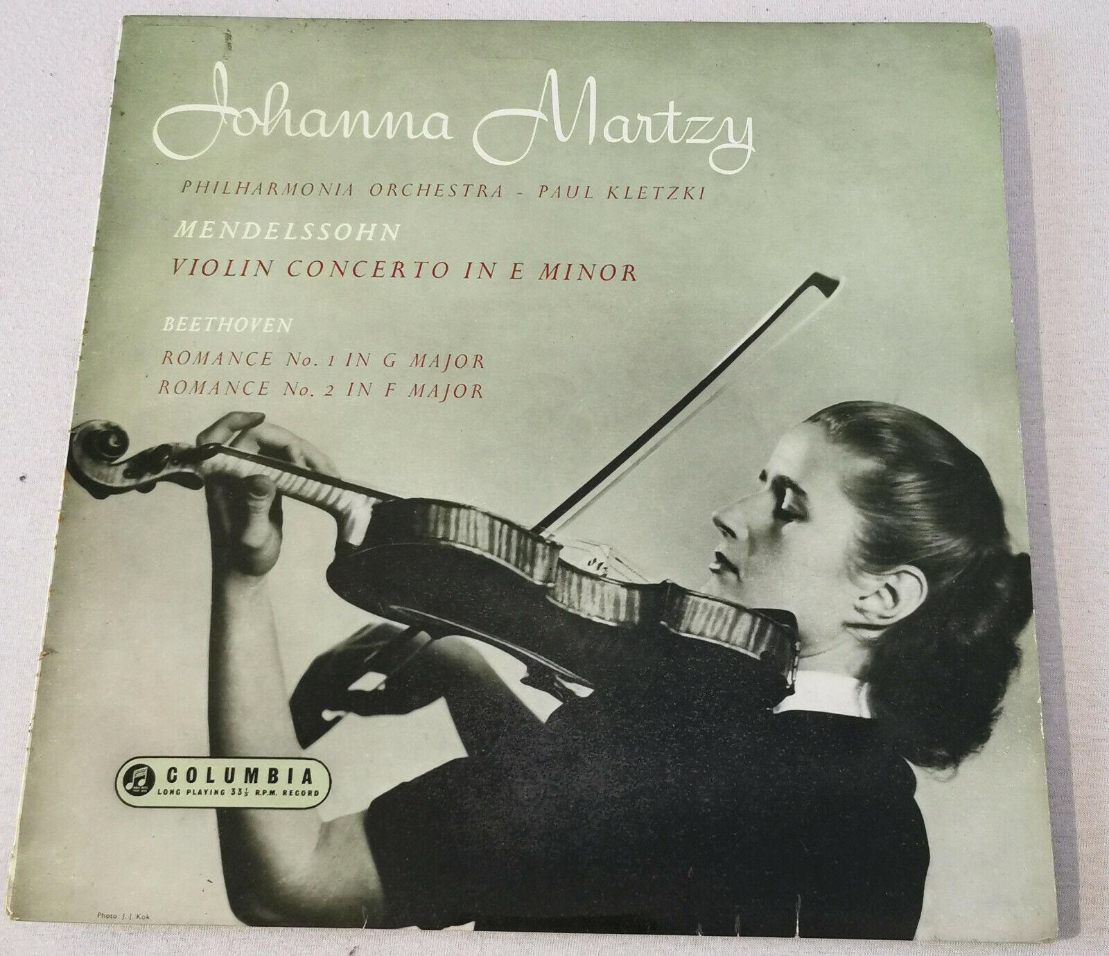 Johanna Martzy LP Mendelssohn Beethoven Violin Columbia 33CX 1497 UK 1955 ED1