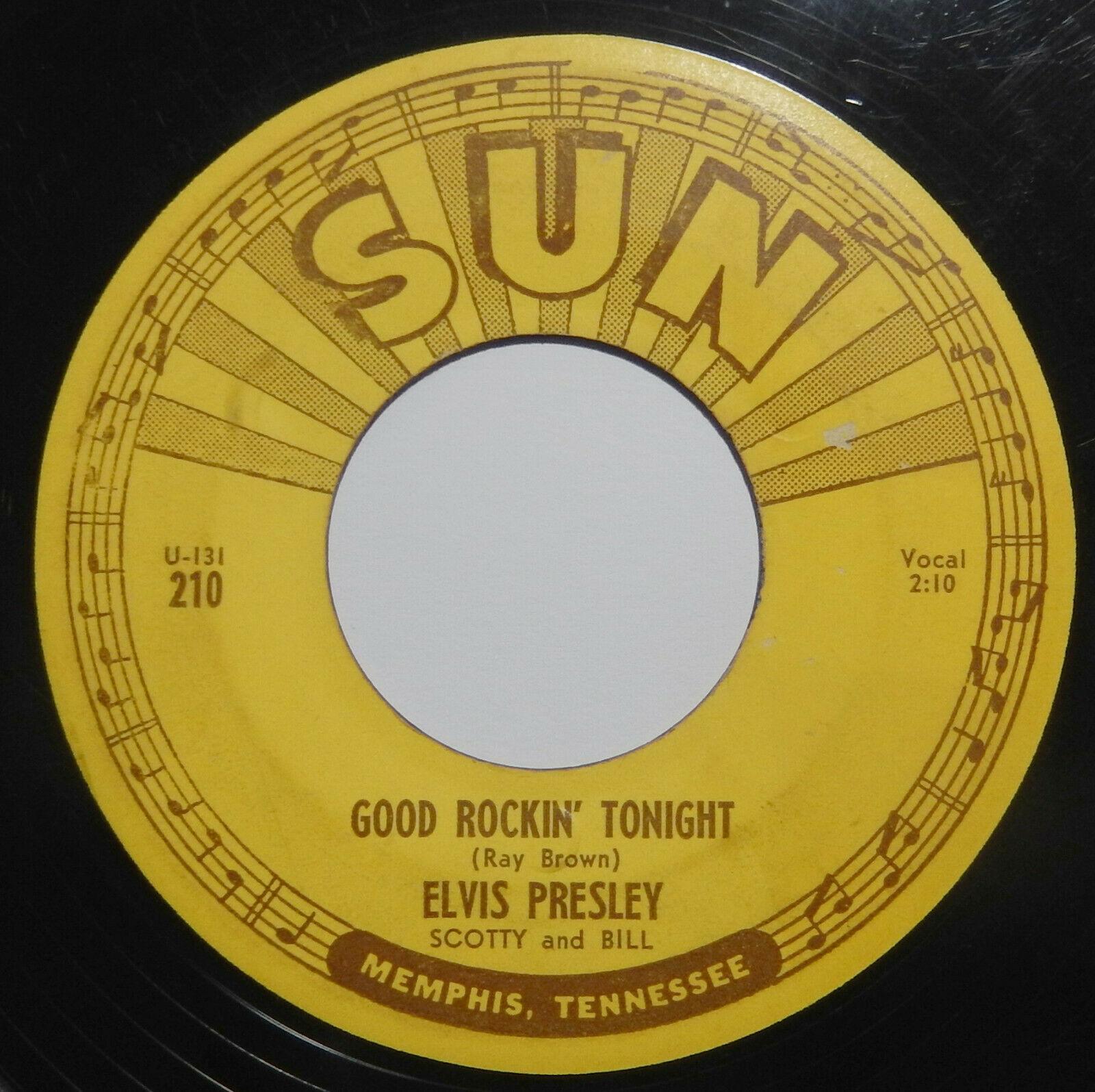ELVIS PRESLEY Good Rockin  Tonight SUN 210 45 rpm RARE ORIGINAL WITH PUSH MARKS
