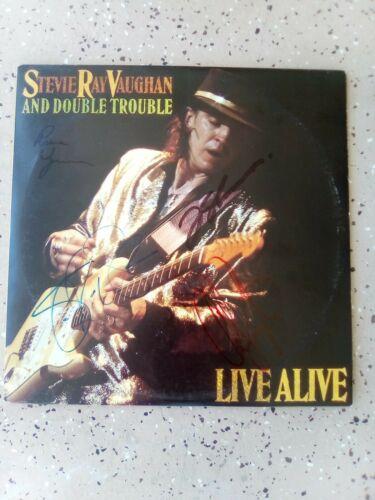 Stevie Ray Vaughan and Double Trouble Autographed Vtg Vinyl Dbl LP E2 40511 1986