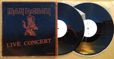 2Lp IRON MAIDEN Double Vinyl Black Brown cvr Early 80s LIVE CONCERT nwobhm METAL