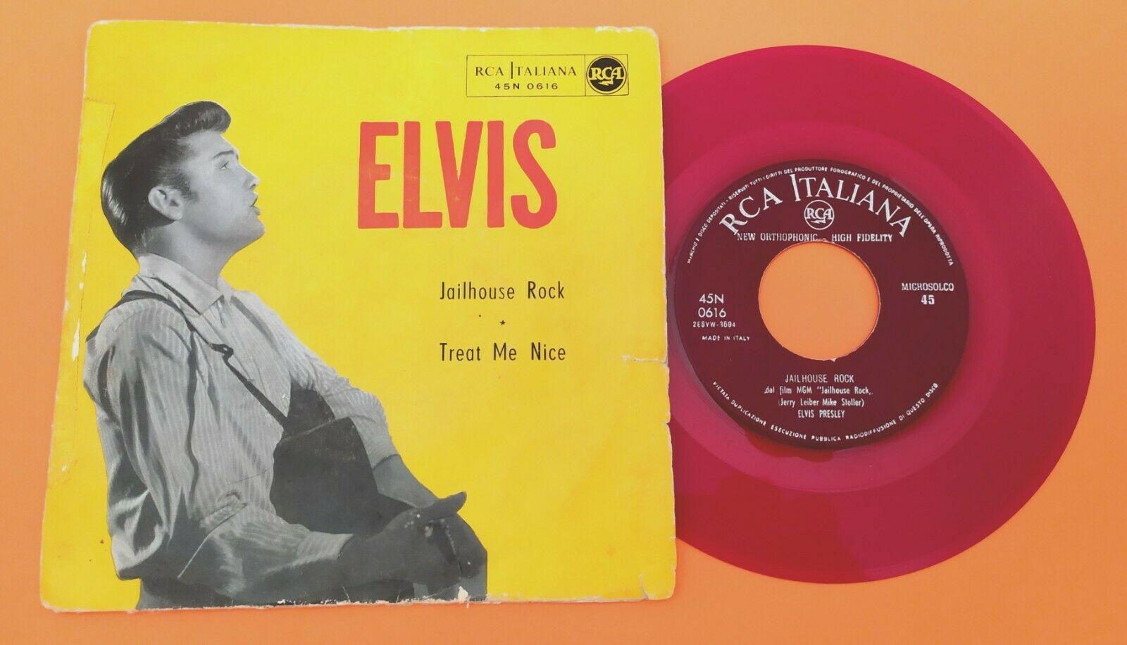 ELVIS PRESLEY  45 RPM   ITALY  45N 0616  JAILHOUSE ROCK   MEGA RARE RED LABEL