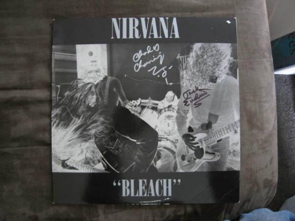 NIRVANA   BLEACH   LP   PINK VINYL   SUB POP   AUTOGRAPHED