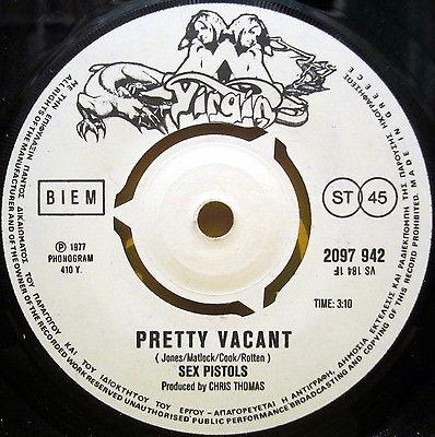 SEX PISTOLS Pretty Vacant   No Fun MEGA RARE 1977 GREEK ORIGINAL 7  SINGLE 45RPM