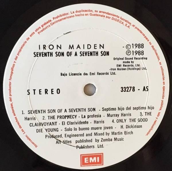 IRON MAIDEN   Seventh Son of a Seventh Son   RARE GUATEMALA LP  50