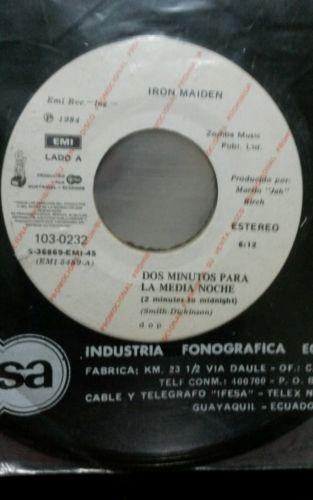 IRON MAIDEN    2 minutes to midnight  7   promo ECUADOR  Mint rare south america