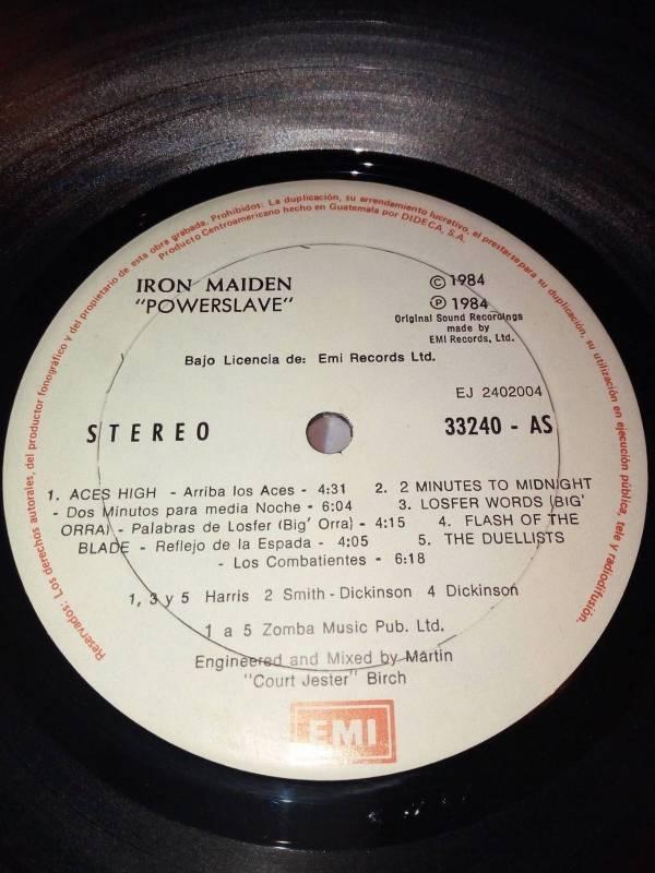 IRON MAIDEN Powerslave Guatemala DIDECA Very Rare Vinyl LP 1984