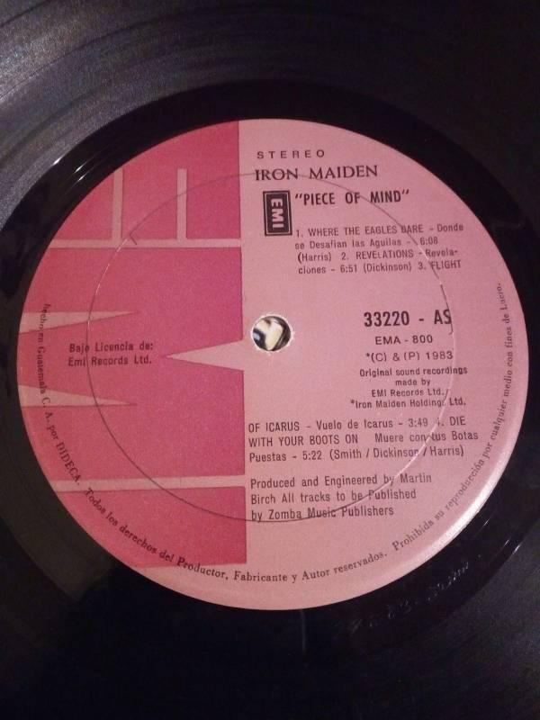 IRON MAIDEN Piece Of Mind Guatemala DIDECA Vintage LP Very Rare Vinyl LP 1983
