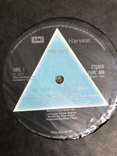 Pink Floyd   Dark Side Of The Moon   Solid Blue Prism UK 1st Press LP 2 Posters