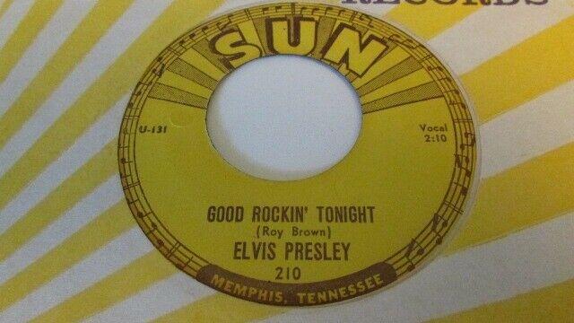 ELVIS PRESLEY RARE ORIGINAL SUN LABEL ROCKABILLY 45 SUN 210 GOOD ROCKIN  TONIGHT