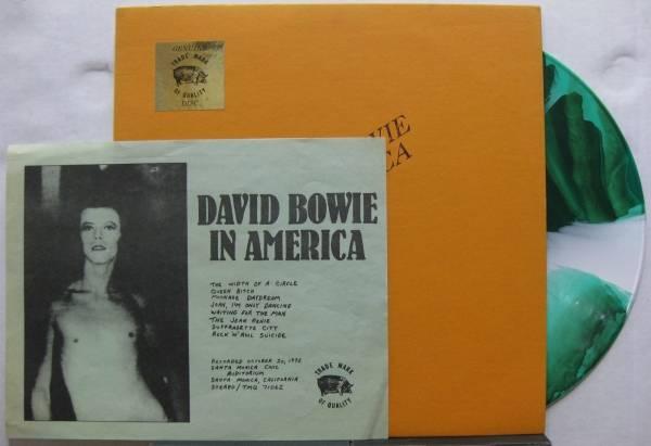 DAVID BOWIE In America TMOQ Green  White Splatter Colored Vinyl Stamped Insert