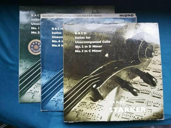 Bach  suites for unaccompanied cello Janos Starker  33cx 1515 1656 1745  3lp