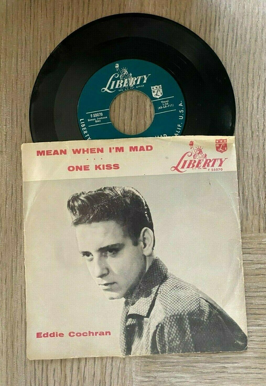 EDDIE COCHRAN 45 LIBERTY MEAN WHEN I M MAD ONE KISS F 55070 ROCKABILLY 1957