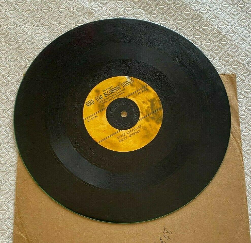 EDDIE COCHRAN 10  Acetate 45 RPM Record C MON EVERYBODY GOLD STAR STUDIOS RARE