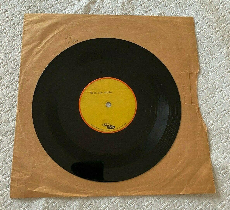 EDDIE COCHRAN 8  Acetate 45 RPM Record  TEENAGE CUTIE  RARE ROCKABILLY