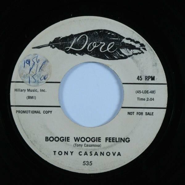 Rockabilly 45 TONY CASANOVA Boogie Woogie Feeling DORE promo HEAR