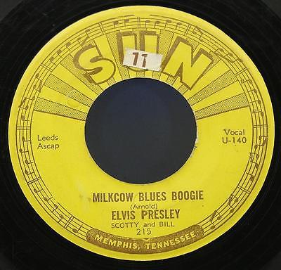 ELVIS PRESLEY Milkcow Blues Boogie 7  RARE SUN RECORDS 215 ORIGINAL 3 PUSH MARKS