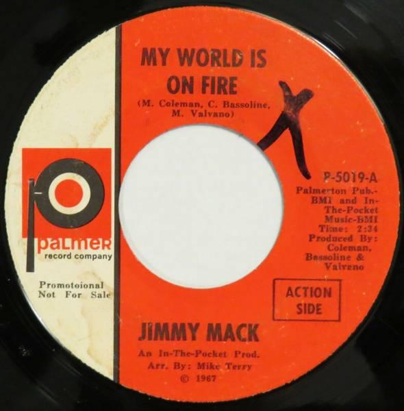 JIMMY MACK My World Is On Fire PALMER 45 northern soul original 1967 HEAR