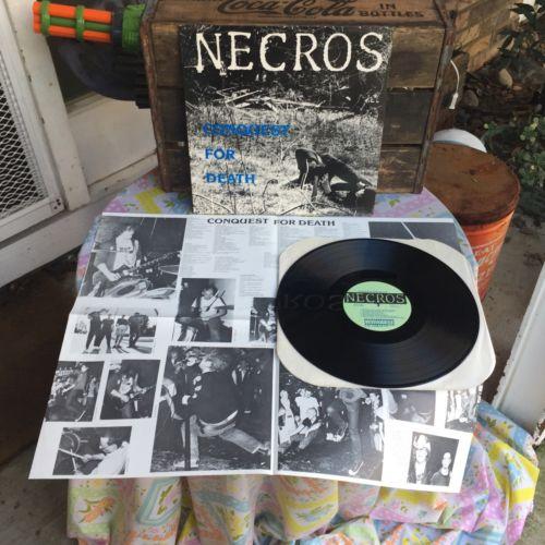 Necros Conquest For Death LP RARE NM 1ST PRESS w  POSTER Misfits Bad Brains PUNK