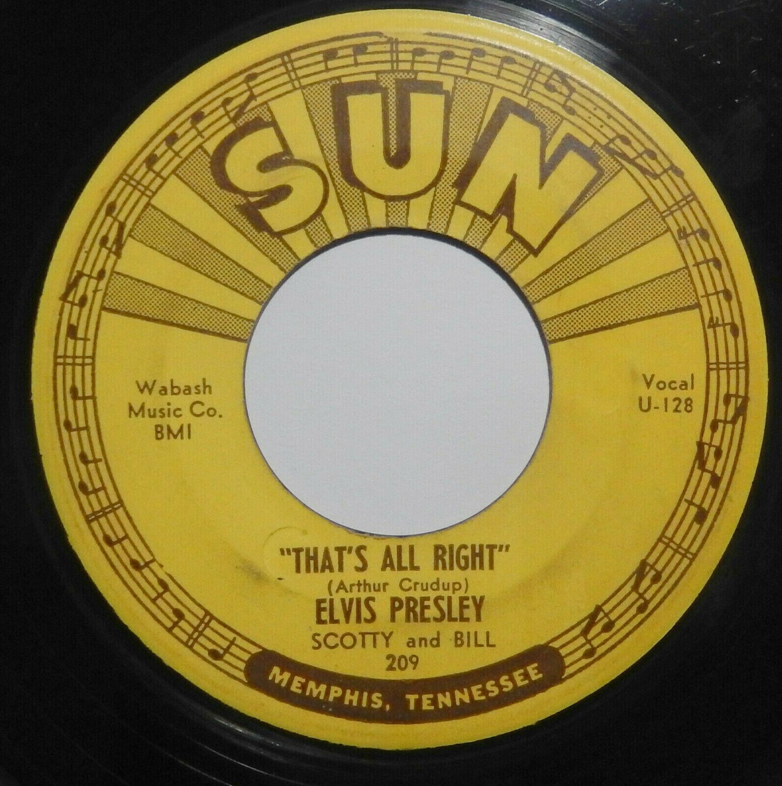 ELVIS PRESLEY That s All Right  Blue Moon SUN 209 45 RARE ORIGINAL PUSH MARKS