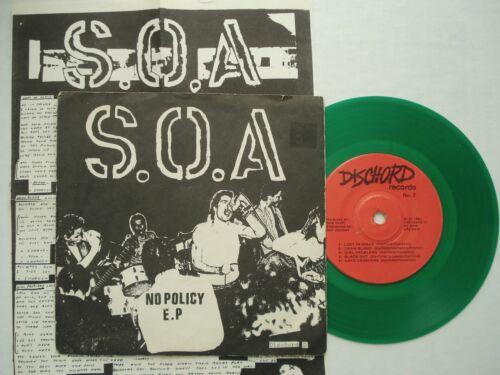 Rare Punk S O A  SOA No Policy DISCHORD  2 7  EP KBD w insert Minor Threat HEAR